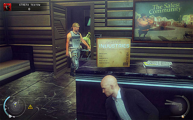 Quickly move to a spot shown on the above screen - a counter near the room with guards - Test Facility - Accessing the test facility - 12: Death Factory - Hitman: Absolution - Game Guide and Walkthrough