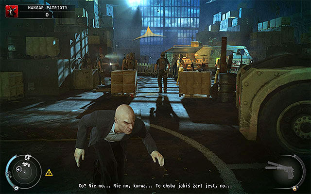 Except Patriot there are members of his team and factory guards inside the hangar - Patriot's Hangar - Exploring the hangar - 13: Fight Night - Hitman: Absolution - Game Guide and Walkthrough