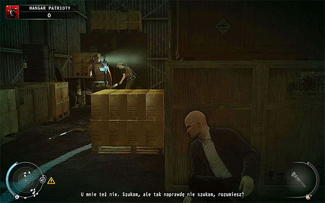 Quite important is fact, that shortly after the mission begins, a group of at least three guards will head towards you, looking for a backstage card lost by one of them - Patriot's Hangar - Exploring the hangar - 13: Fight Night - Hitman: Absolution - Game Guide and Walkthrough