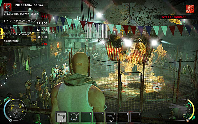 Throw the remote explosive or C4 bricks inside the cage, where Sanchez fights with Patriot - The Arena - Murdering Sanchez in traditional way - 13: Fight Night - Hitman: Absolution - Game Guide and Walkthrough