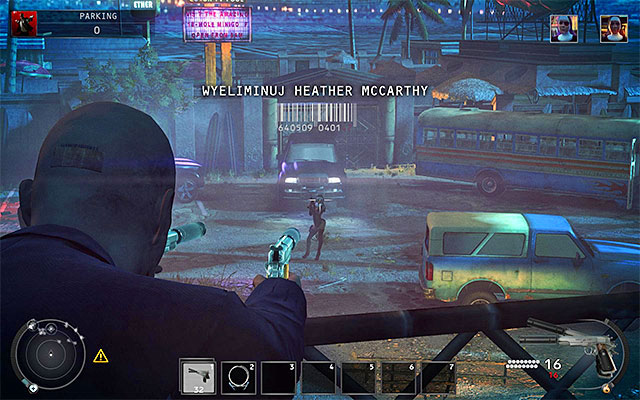 An interesting thing to know about Heather McCarthy is that the game allows you to murder her at the very beginning of the mission, because thats when shell be briefing her men at the parking lot (screen above) - Parking - Reaching the area patrolled by Heather McCarthy - 14: Attack of the Saints - Hitman: Absolution - Game Guide and Walkthrough