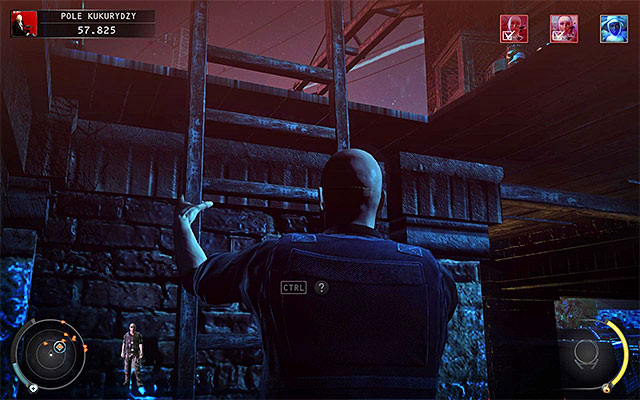 If youre playing on lower difficulty settings, then you can enter the barn right away and immediately interact with a ladder (screen above) - Cornfield - Murdering LaSandra Dixon - 14: Attack of the Saints - Hitman: Absolution - Game Guide and Walkthrough