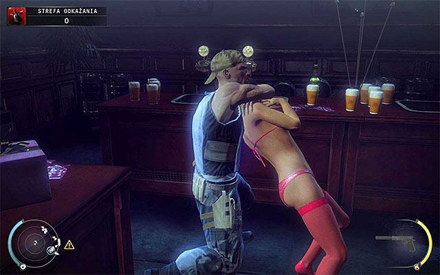 Hide behind the counter, so the stripper won't spot you - 12: Death Factory - p. 2 - Challenges - Hitman: Absolution - Game Guide and Walkthrough