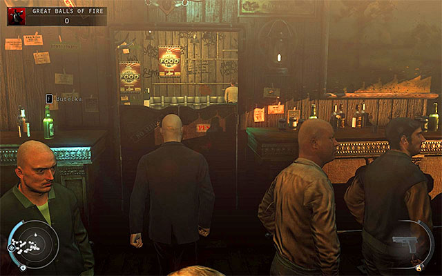 If you want to get to the bartender without a fight then your first task is to figure out how to get to the largest bar room - Great Balls of Fire - Getting to the bartender without a fight - 7: Welcome to Hope - Hitman: Absolution - Game Guide and Walkthrough