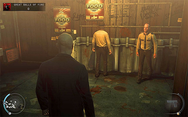 After getting to the toilets, you have to decide how to behave there - Great Balls of Fire - Getting to the bartender without a fight - 7: Welcome to Hope - Hitman: Absolution - Game Guide and Walkthrough