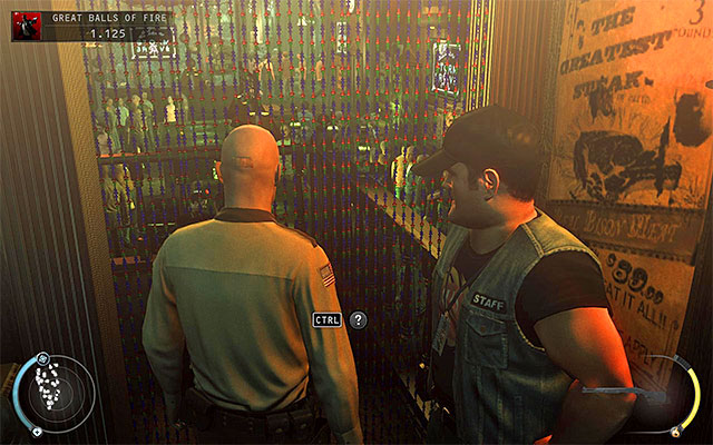 When you have Hope police officer disguise, you can return to the starting room and then enter the main bar area with no problems, not worrying that someone may identify you - Great Balls of Fire - Getting to the bartender without a fight - 7: Welcome to Hope - Hitman: Absolution - Game Guide and Walkthrough
