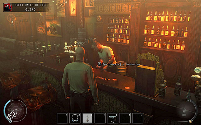 But that's not the end yet, because in the last part of the bar you'll encounter more persons which should be avoided, including two officers sitting at one of the tables - Great Balls of Fire - Getting to the bartender without a fight - 7: Welcome to Hope - Hitman: Absolution - Game Guide and Walkthrough