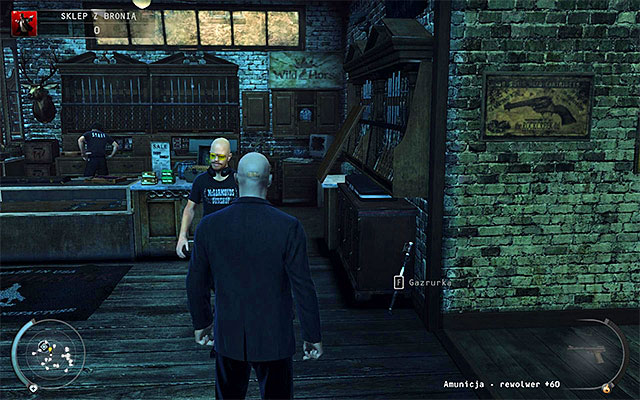 Return now to the starting place, but do not run not to attract unnecessary attention - Gun Shop - Getting the key to the cabinet - 8: Birdie's Gift - Hitman: Absolution - Game Guide and Walkthrough