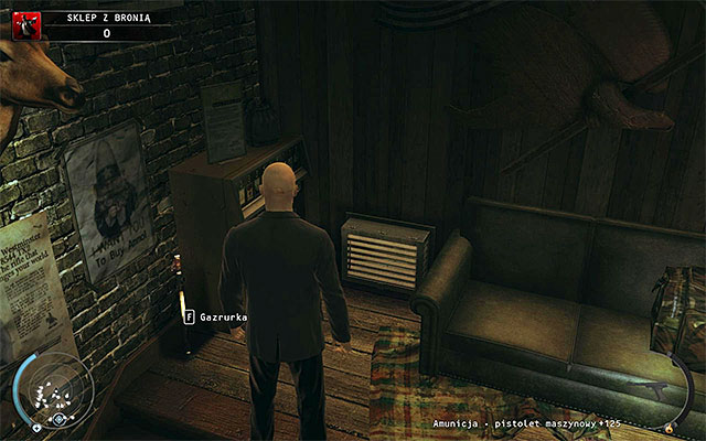 Stop at the place, where few policemen shoot ducks and examine the right wall in order to find an entrance to the ventilation shaft (screen above) - Gun Shop - Getting the key to the cabinet - 8: Birdie's Gift - Hitman: Absolution - Game Guide and Walkthrough