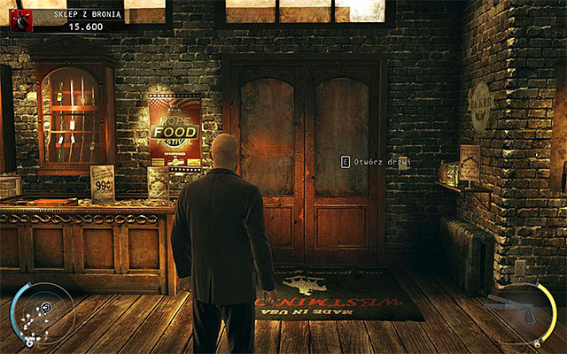 In order to end the mission you have to go to the door shown on the above screen - Gun Shop - Acquiring Silverballers - 8: Birdie's Gift - Hitman: Absolution - Game Guide and Walkthrough