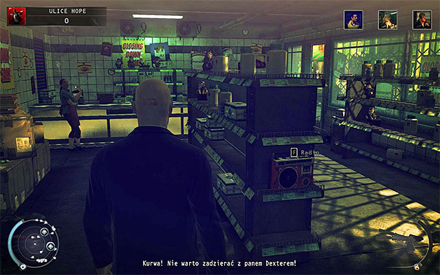 Tyler Colvin travels between two points on the map and the first place visited by him is a first floor of the convenience store (a building located left from the starting place) - Streets of Hope - Murdering Tyler Colvin - 9: Shaving Lenny - Hitman: Absolution - Game Guide and Walkthrough