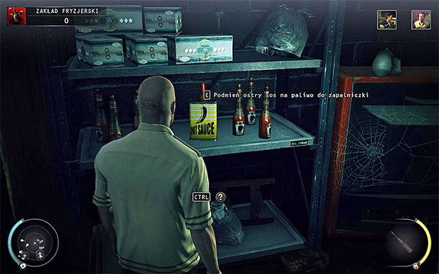 Now go to the basement of the barbershop and swap hot sauce with the lighter fuel - 9: Shaving Lenny - p. 2 - Challenges - Hitman: Absolution - Game Guide and Walkthrough