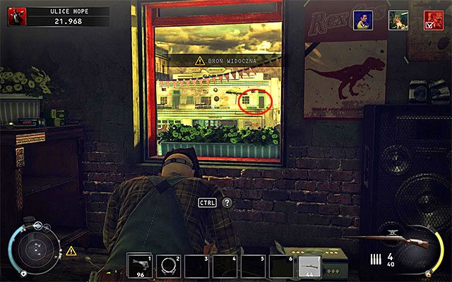 This challenge can be completed in the first stage of the mission - Streets of Hope and same as previously you have to start with obtaining a sniper rifle (Ilyon R700), which can be found on the donut shop first floor - 9: Shaving Lenny - p. 2 - Challenges - Hitman: Absolution - Game Guide and Walkthrough