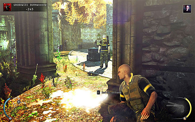 If you want to explore this area more carefully, I suggest jumping between pillars (screen above) and use throwable objects when needed, to distract enemies - Burnwood Family Tomb - Exploring the tomb area - 20: Absolution - Hitman: Absolution - Game Guide and Walkthrough