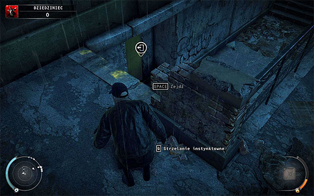 Patiently wait until officers turn around, quickly jump over the wall and head straight ahead - Courtyard - 5: Hunter and Hunted - Hitman: Absolution - Game Guide and Walkthrough