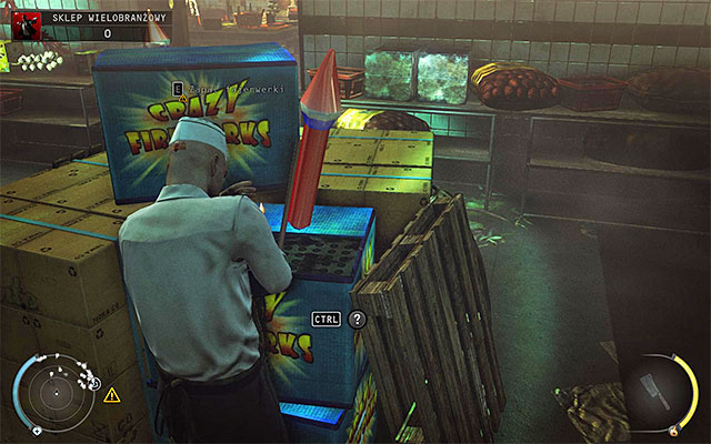 After turning the valve, look around the warehouse or the main part of the store to find fireworks and ignite them - 5: Hunter and Hunted - p. 1 - Challenges - Hitman: Absolution - Game Guide and Walkthrough