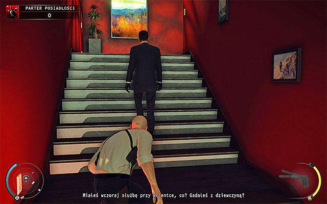 It is beast to get rid of the head of the security when he walks the stairs (screen above), but try to attack him so that he won't be able to defend himself - Mansion ground floor - 1: Personal Contract - Hitman: Absolution - Game Guide and Walkthrough