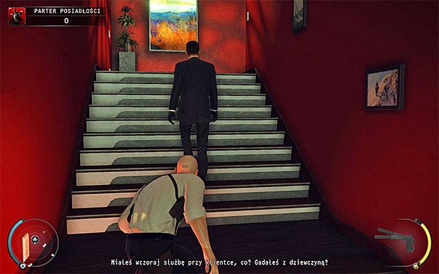 حیوانات برای از بین بردن سر امنیت هنگام راه رفتن پله ها (روی صفحه بالای بالای صفحه)، اما سعی کنید به او حمله کنید تا بتواند از خود دفاع کند - طبقه ی عمارت - 1: قرارداد شخصی - هیتمن: Absolution - راهنمای بازی و پیاده روی