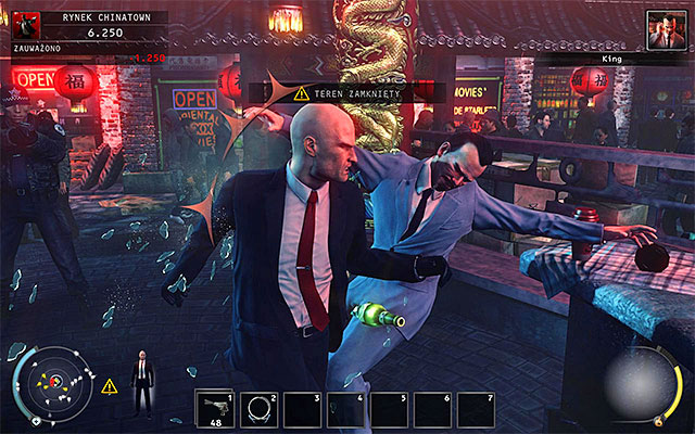 The most obvious way to eliminate the King of Chinatown is killing him while he stays in the fenced area - Chinatown square - Murdering the King of Chinatown - 2: The King of Chinatown - Hitman: Absolution - Game Guide and Walkthrough