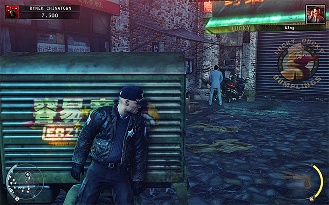 After the King of Chinatown stops in the side alley, make sure that he is not watched by anyone and only after that decide, how you want to get rid of him - Chinatown square - Murdering the King of Chinatown - 2: The King of Chinatown - Hitman: Absolution - Game Guide and Walkthrough