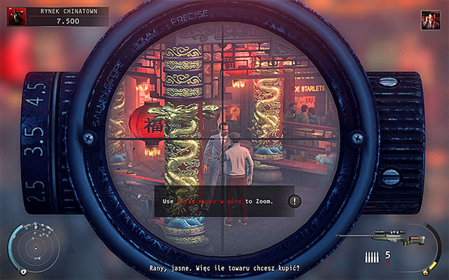 Regardless of your actions, after getting to the dealer's apartment, look around in search for Kazo TRG sniper rifle (should lie on the table) - Chinatown square - Murdering the King of Chinatown - 2: The King of Chinatown - Hitman: Absolution - Game Guide and Walkthrough