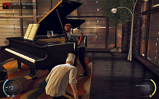 Wait until one of guards tries to play piano and then looks inside it - 1: Personal Contract - Challenges - Hitman: Absolution - Game Guide and Walkthrough