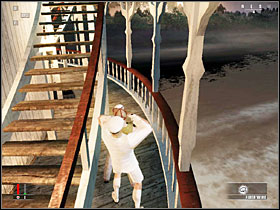 When you see that the captain's dropped dead because of the poison, get back to his room and enter the bedroom - Death of the Mississippi - Walkthrough - Hitman: Blood Money - Game Guide and Walkthrough