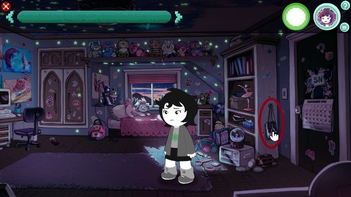 The first one are the shoes, hanging right next to the door - Room 1 | Walkthrough - Walkthrough - Hiveswap Game Guide