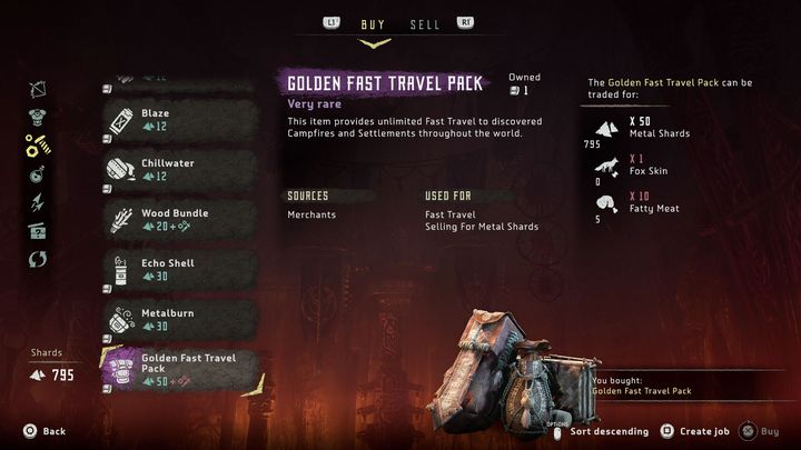 Once you reach Meridian in the western part of the world, you should quickly visit one of the common merchants (you will find him in the marketplace in the upper part of the city) and buy a Golden Fast Travel Pack for a rather small price - How to unlock unlimited fast travel in Horizon Zero Dawn? - FAQ - Horizon Zero Dawn Game Guide
