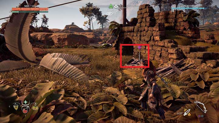 The ancient debris is near the marker, close to the ruined wall - Ancient Vessels | Collectibles - Collections - Horizon Zero Dawn Game Guide