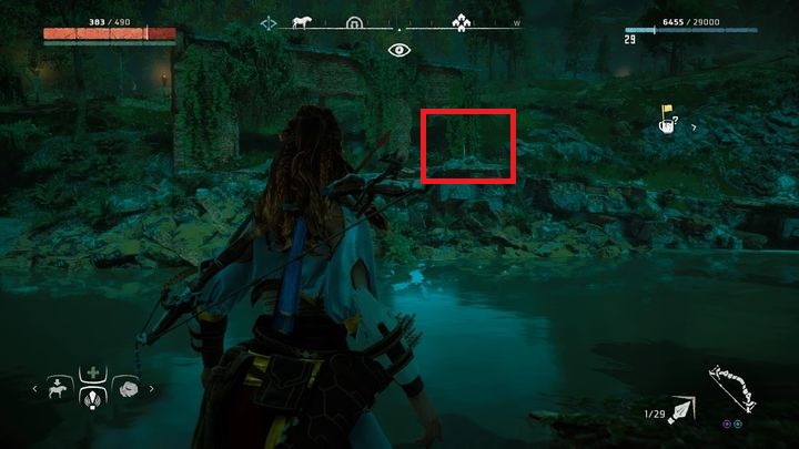 Near the place pointed by the marker you can find a narrow river - Ancient Vessels | Collectibles - Collections - Horizon Zero Dawn Game Guide