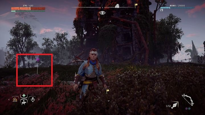 Follow the path that leads to the west from bandits camp in Devils Thirst - Ancient Vessels | Collectibles - Collections - Horizon Zero Dawn Game Guide