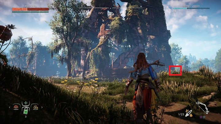 Near the marked place you can find a destroyed ad banner on a tall pole - Ancient Vessels | Collectibles - Collections - Horizon Zero Dawn Game Guide