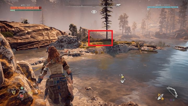 The flower is on a small island, in Snapmaws nest - Metal Flowers | Collectibles - Collections - Horizon Zero Dawn Game Guide