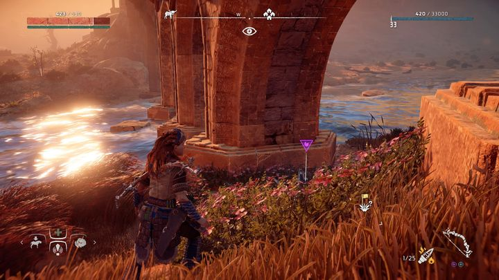 The flower is right under the bridge that leads to Carja territory from the Nora borders - Metal Flowers | Collectibles - Collections - Horizon Zero Dawn Game Guide