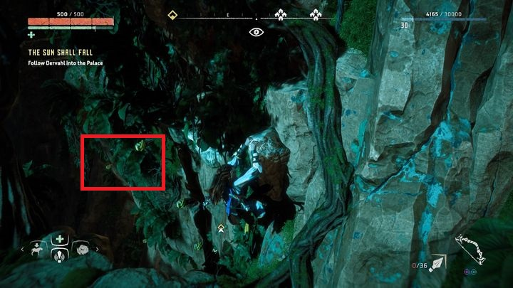 When you are close to the climbing wall, catch the handle presented on the picture - The Sun Shall Fall | Walkthrough - Main Missions | Walkthrough - Horizon Zero Dawn Game Guide