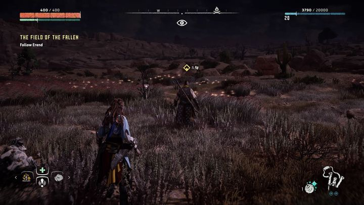 When you arrive at the place pointed by the marker it turns out that Erend is in danger - The Field of the Fallen | Walkthrough - Main Missions | Walkthrough - Horizon Zero Dawn Game Guide