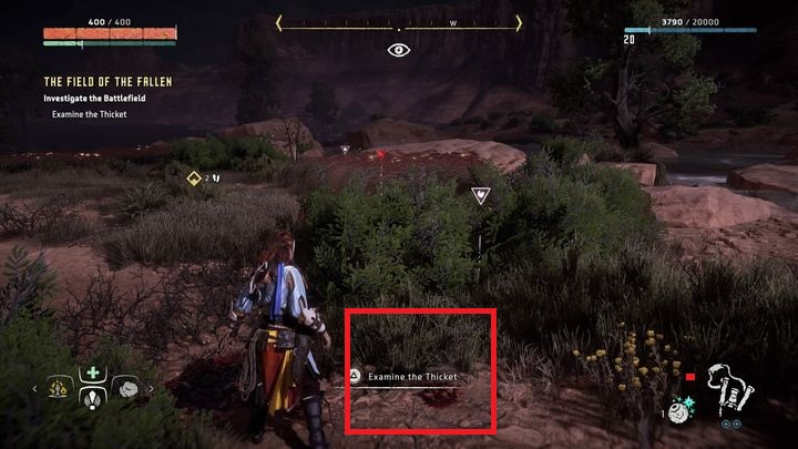 There, you find blood stains that you must examine carefully - The Field of the Fallen | Walkthrough - Main Missions | Walkthrough - Horizon Zero Dawn Game Guide