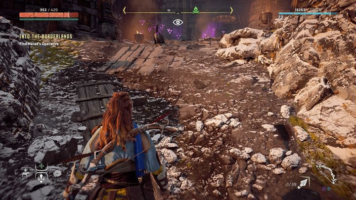 After the cut-scene and the dialogue you have no other choice but to go north to Oseram clans headquarters - Pitchcliff - Into The Borderlands | Walkthrough - Main Missions | Walkthrough - Horizon Zero Dawn Game Guide