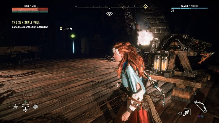 Aloy equipped herself with earmuffs that allows her to get to the device near the basements entrance and turn it off - Into The Borderlands | Walkthrough - Main Missions | Walkthrough - Horizon Zero Dawn Game Guide