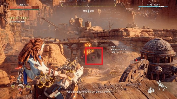 In the final part of the quest you must knock down the bridge on the right - Heap of Trouble | Free Heap side quests - Free Heap - Horizon Zero Dawn Game Guide