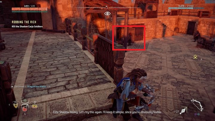 There, you learn that the lost is now in bandits hands - Robbing the Rich | Meridian side quests - Meridian - Horizon Zero Dawn Game Guide