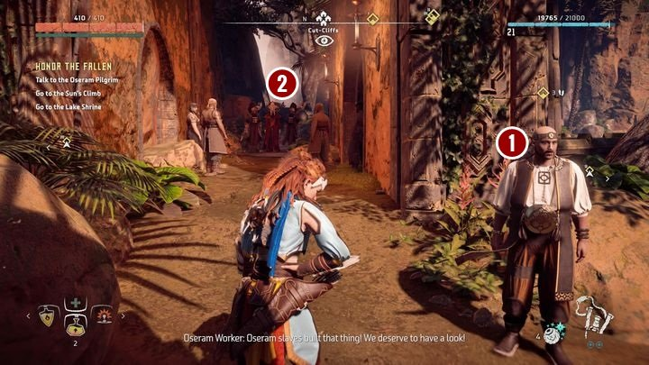 When you get there, first, speak with Brageld [1] - you can meet him in front of the shrines entrance - Honor the Fallen | Meridian side quests - Meridian - Horizon Zero Dawn Game Guide