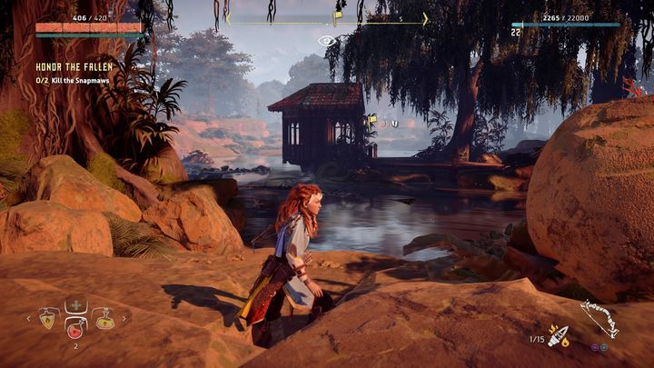 Here, you must defeat two Snapmaws that can be found near the shrine - Honor the Fallen | Meridian side quests - Meridian - Horizon Zero Dawn Game Guide