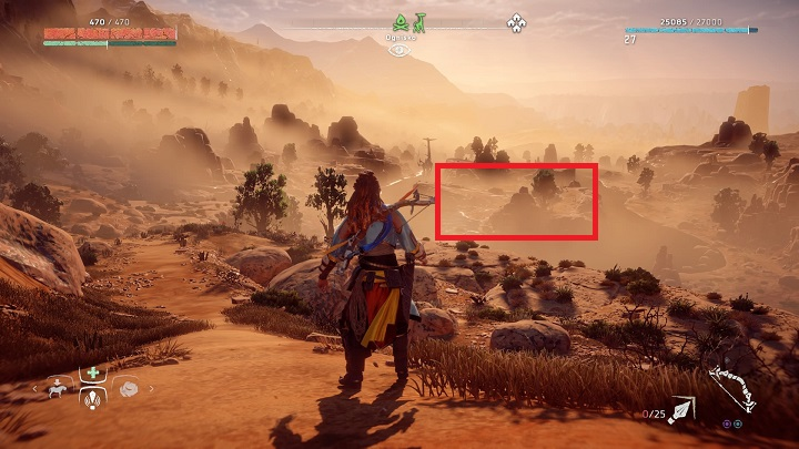 Here, the only point that allows you to get on the Tallneck is on the island in the center of the pond - How to override tallnecks in Horizon Zero Dawn? - Additional activities - Horizon Zero Dawn Game Guide