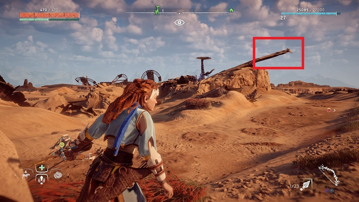 Jumping on the Tallneck is possible from the derelict presented on the picture - How to override tallnecks in Horizon Zero Dawn? - Additional activities - Horizon Zero Dawn Game Guide