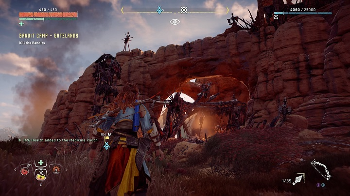 In this case, the camp is rather large but thanks to that you shouldnt have any problems with finding bushes - How to clear bandits camps in Horizon Zero Dawn? - Additional activities - Horizon Zero Dawn Game Guide