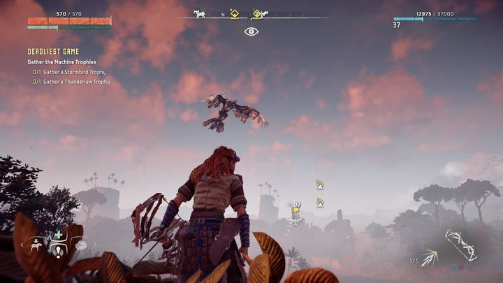 Go to the marked place and you will see one machine flying on the sky - Deadliest Game - errand | Meridian side quests - Meridian - Horizon Zero Dawn Game Guide