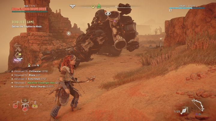 You will find the machine in the marked place - Deadliest Game - errand | Meridian side quests - Meridian - Horizon Zero Dawn Game Guide