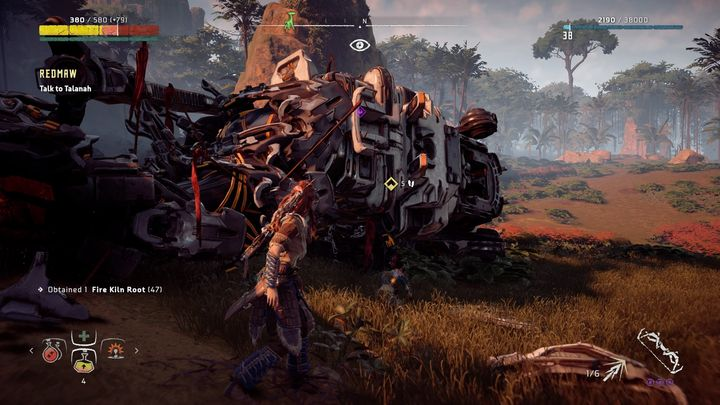 Tanalah isnt very helpful, but she can distract the machine, allowing you to regenerate strength, craft arrows and hit the machine in its back a few times - Redmaw - side quest | Meridian side quests - Meridian - Horizon Zero Dawn Game Guide